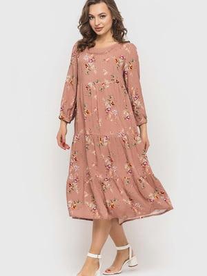 Сукня пудрового кольору в квітковий принт   5426807