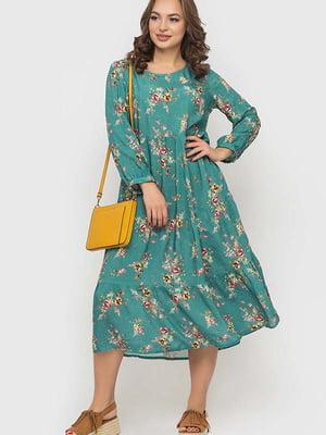 Сукня м'ятного кольору в квітковий принт   5426808