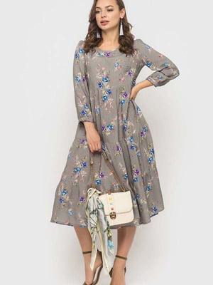 Сукня сіра в квітковий принт   5426809