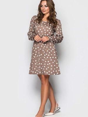 Платье кофейного цвета в горох | 5426810