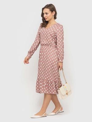 Платье бежевое в горошек | 5426821