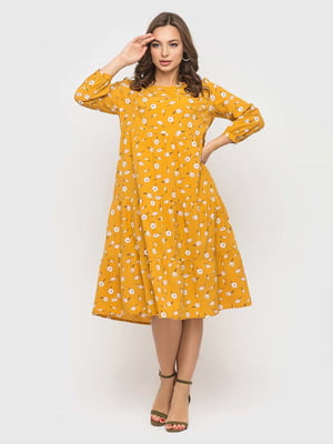 Сукня жовта в принт | 5426822