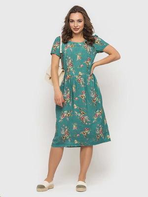 Сукня м'ятного кольору в принт   5426827