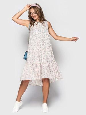 Сукня пудрового кольору в принт   5426828