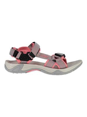Сандалі сіро-рожеві з візерунком-логотипом | 5397885