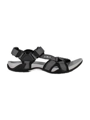 Сандалии серо-черные с узором-логотипом | 5398055