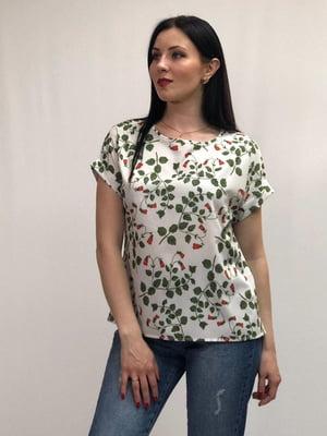 Блуза біла в принт | 5427638