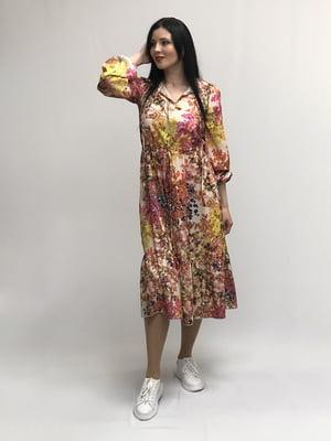 Сукня бежева в принт | 5427644