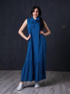 Сукня синя в квітковий принт | 5427654