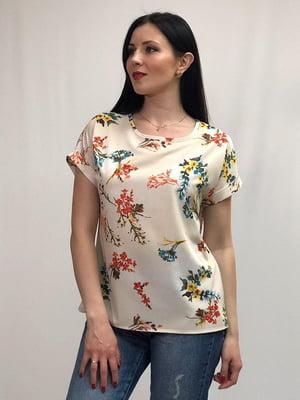 Блуза бежева в квітковий принт | 5427637