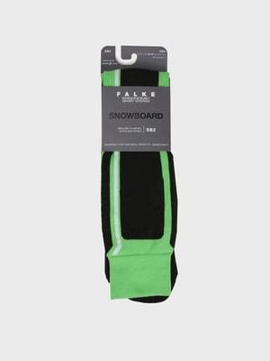 Шкарпетки лижні чорно-зелені | 5260409