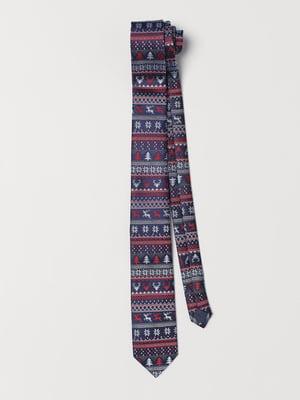 Краватка синя з принтом | 5428642