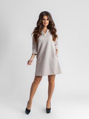 Сукня бежева в однотонний ромб | 5430952