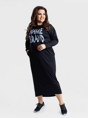 Сукня чорна в принт | 5430962