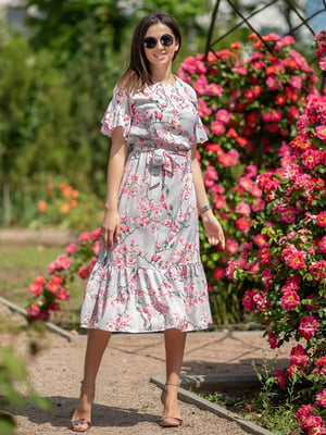 Сукня сіра з принтом | 5431035