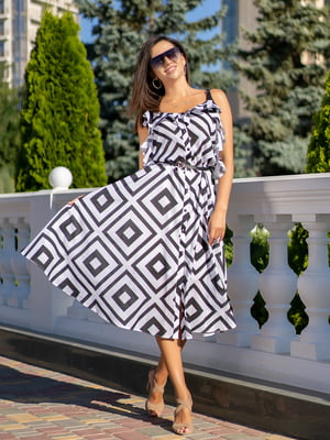 Сукня біла з принтом | 5431048