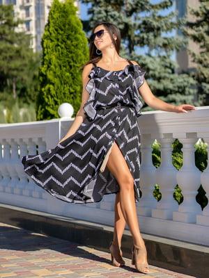 Сукня чорна з принтом | 5431049