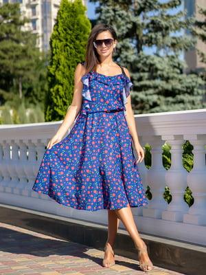 Сукня кольору електрик з принтом | 5431050