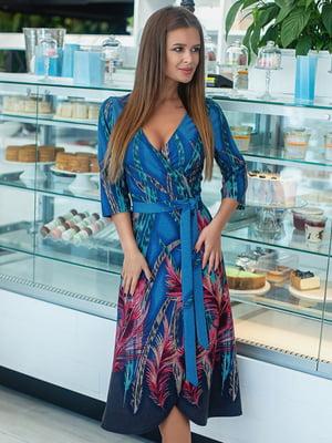 Сукня синя з принтом | 5431056