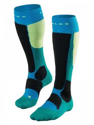 Шкарпетки лижні синьо-зелені | 5260357