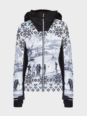 Куртка лижна чорно-біла з принтом | 5397925