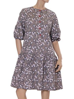 Сукня кольору кави з принтом | 5431138