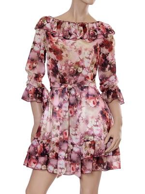 Сукня кольору вишні з принтом | 5431140