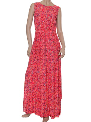 Платье кораллового цвета с принтом   5431150