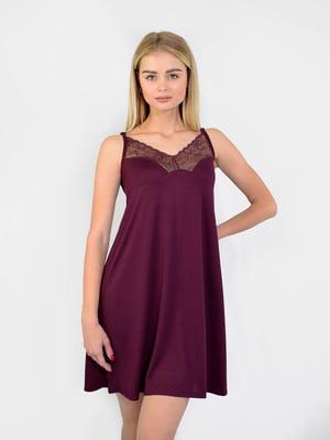 Сорочка нічна кольору марсал | 5431249