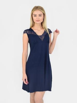 Сорочка нічна темно-синя | 5431250