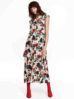 Сукня кремового кольору в квітковий принт   5431547