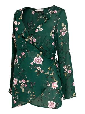Блуза зелена в квітковий принт | 5432489