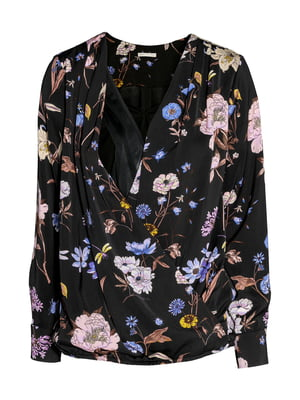 Блуза черная в цветочный принт | 5432690