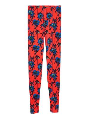 Легінси червоні в квітковий принт | 5433215