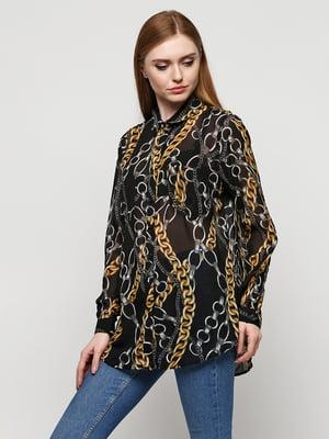 Блуза чорного кольору з принтом | 5433892