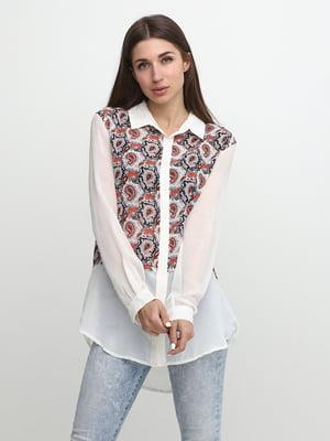 Блуза бежева з принтом | 5433901