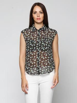 Блуза чорного кольору з принтом | 5433921