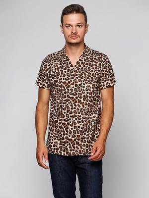 Рубашка бежевая с принтом   5433928