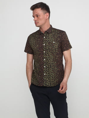 Рубашка цвета хаки с принтом   5434000