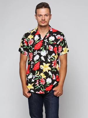 Рубашка черная с принтом   5434002
