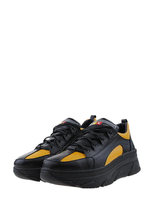 Кроссовки черно-горчичного цвета | 5436343