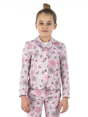 Жакет розово-белый в принт   5436857