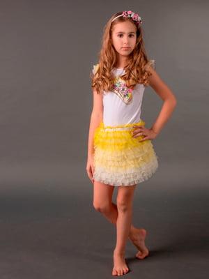 Платье бело-желтое | 5438197