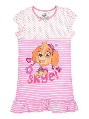 Рубашка ночная розовая в принт | 5438379