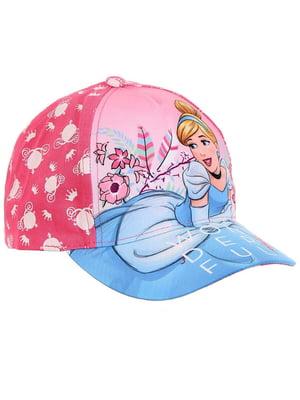 Кепка розово-голубая с принтом | 5439405