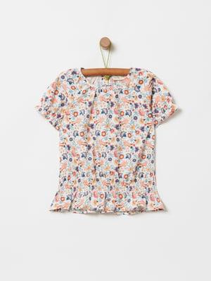 Блуза біла в принт | 5435527