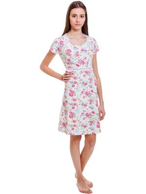 Сорочка рожева з квітковим принтом | 5440697