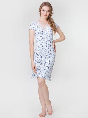 Сорочка синя з квітковим принтом | 5440699