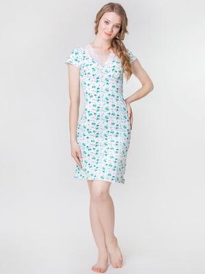 Сорочка зелена з квітковим принтом | 5440700