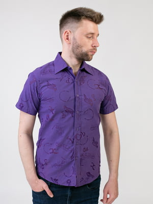 Рубашка фиолетовая с принтом | 5438720